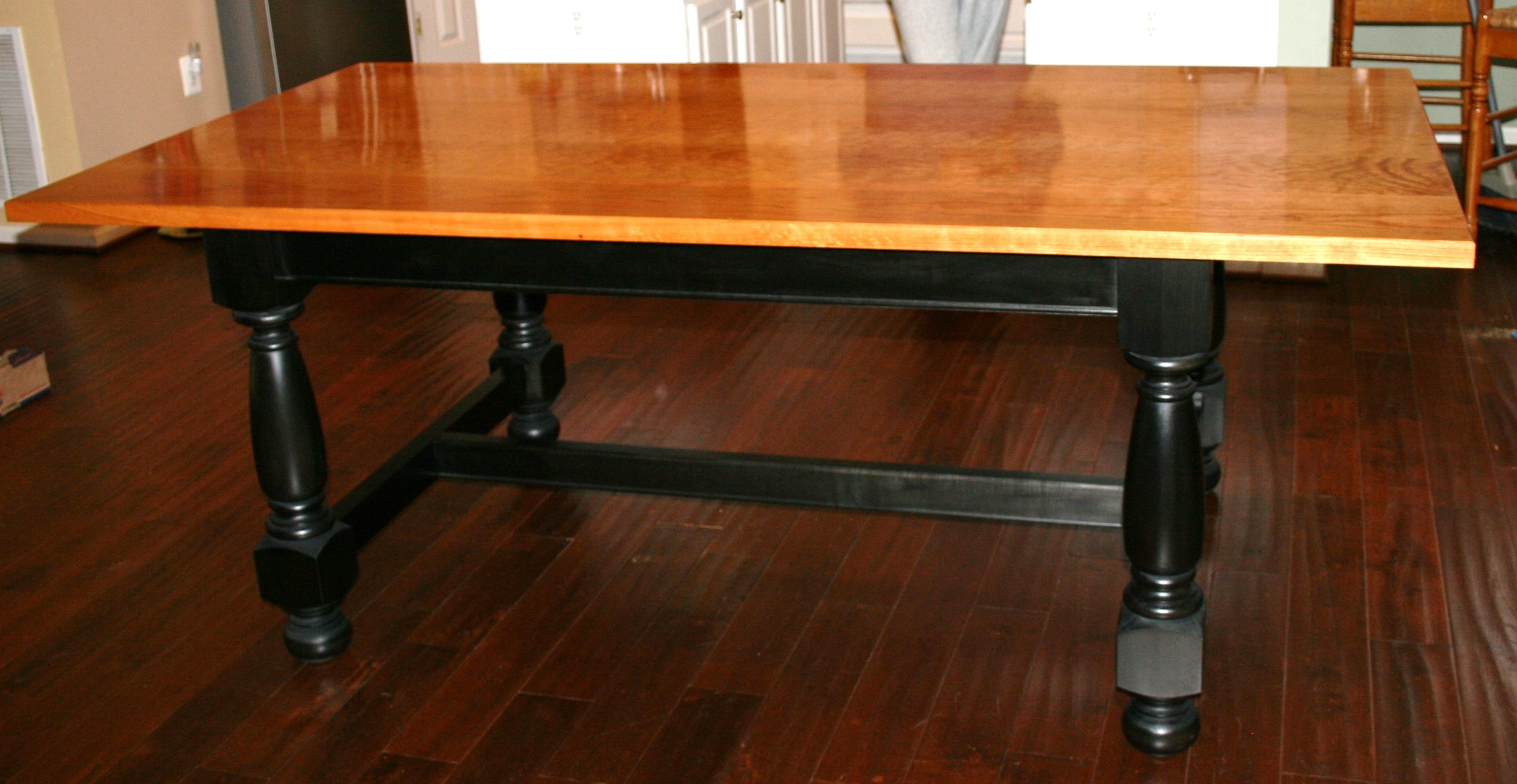 Table With A Top Crafted From Solid Cherry (finished With Danish Oil. Full resolution  image, nominally Width 2989 Height 1545 pixels, image with #CA7501.